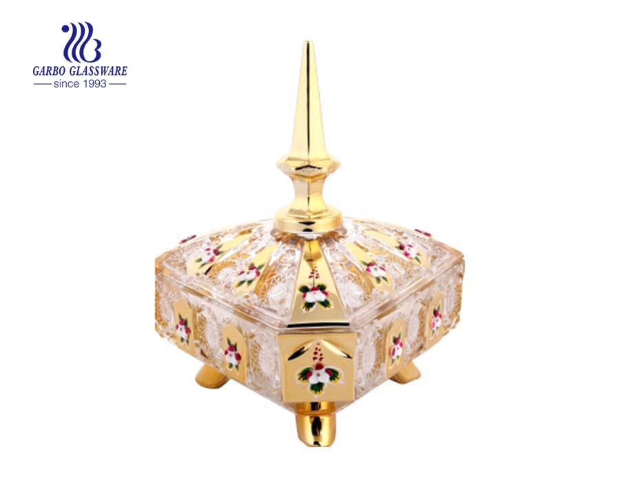 Lọ kẹo thủy tinh trang trí cổ điển được dán decal vàng