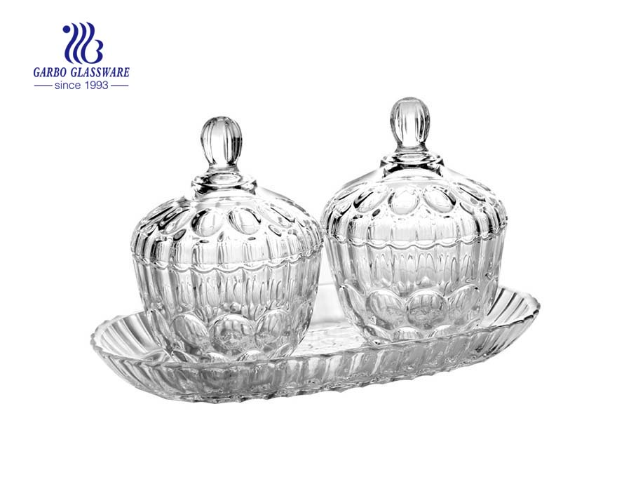 3pcs High Quality Crystal Glass Sweet Candy Pot Gift with Lids