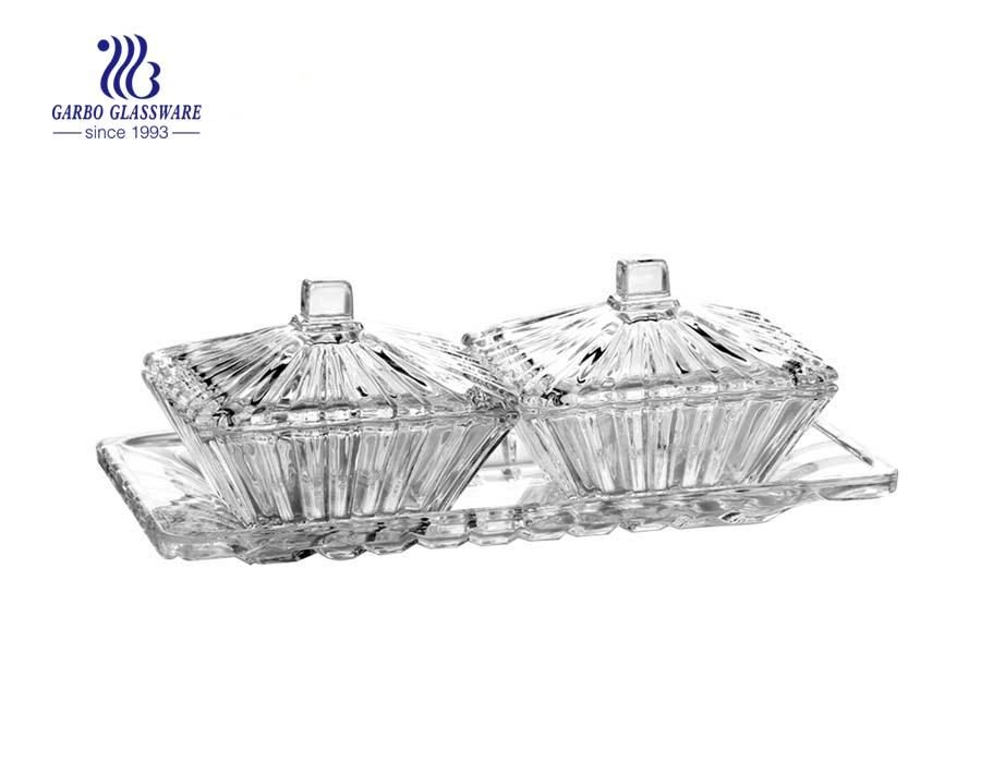 3 Pcs Decorative Glass Candy Jar Plate Sugar Pot Set