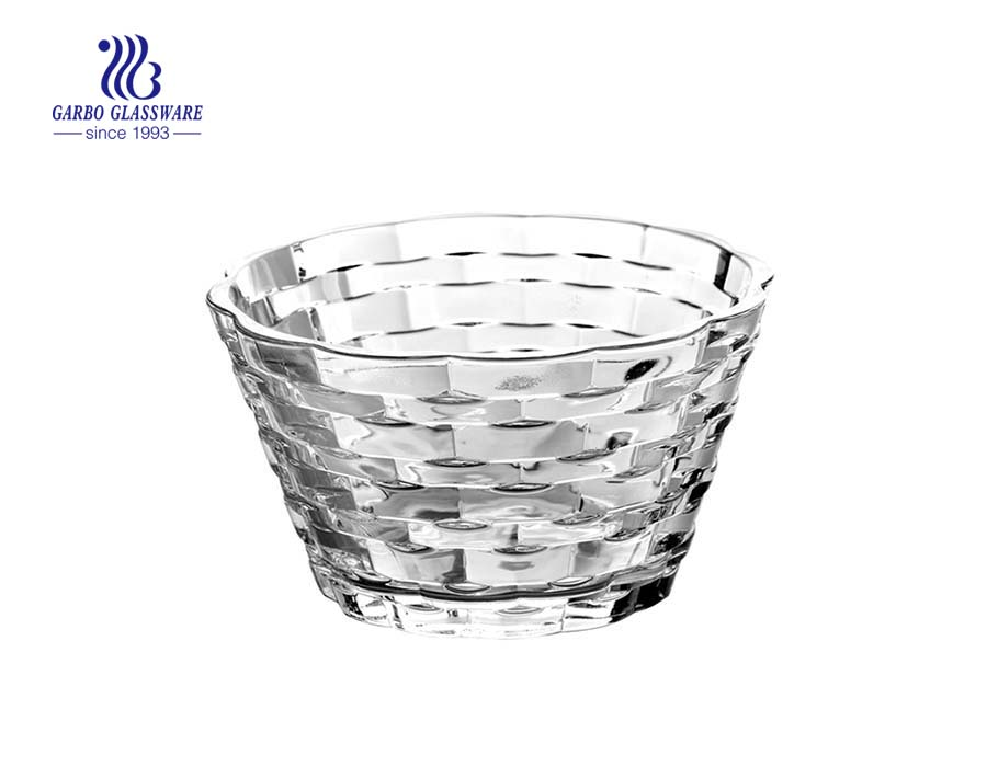 New Design 6 inch Tartan Crystal Glass Bowl for Food Contained