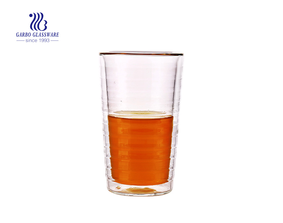 5oz Line shape design pyrex glass double wall cup