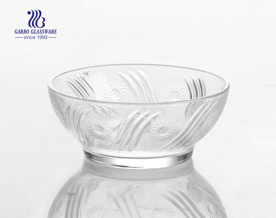 Wholesale Good Quality Overlapping Curve Round Shape Clear Glass Salad Fruit Bowl