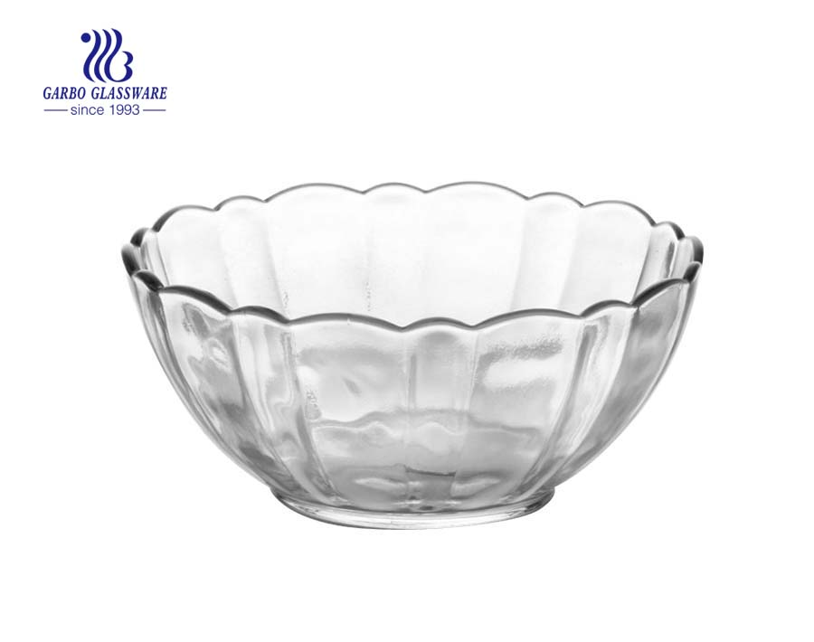 Best Quality Lotus Design Round Shape Clear Glass Salad Fruit Bowl