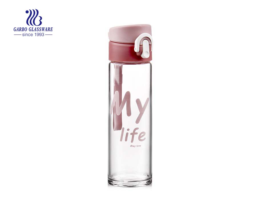 840ml Pink Decals Glass Water Bottle With Plastic Lid