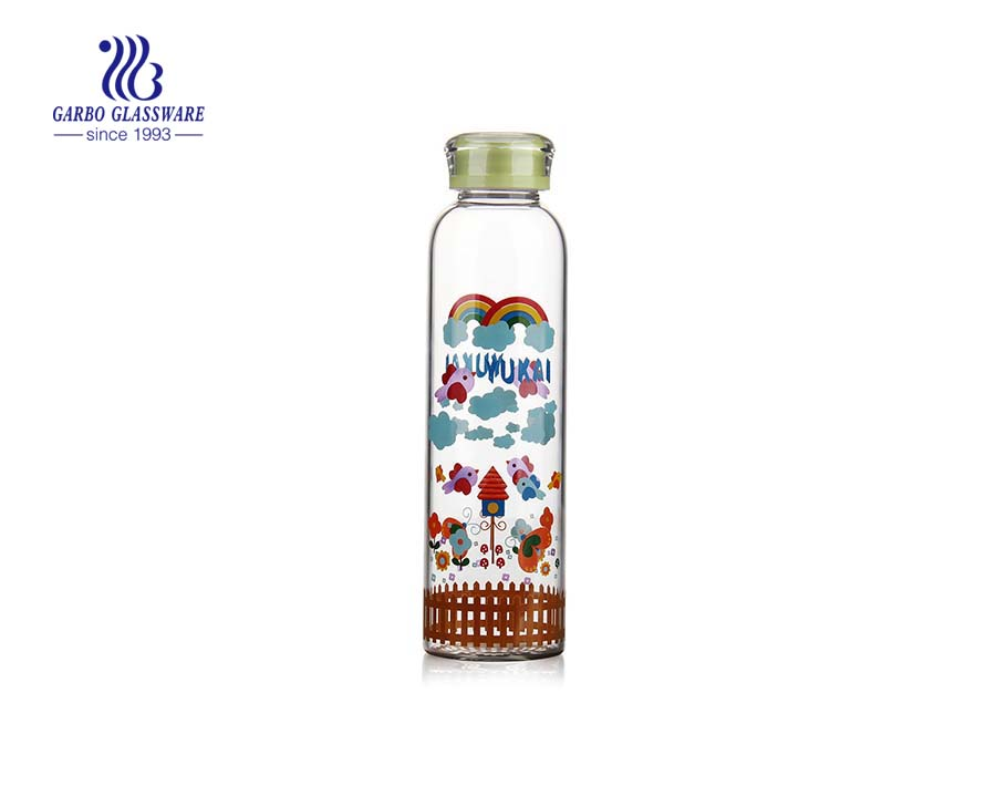 Fancy 840ml Cartoon Design Borosilicate Glass Water Bottle for sports