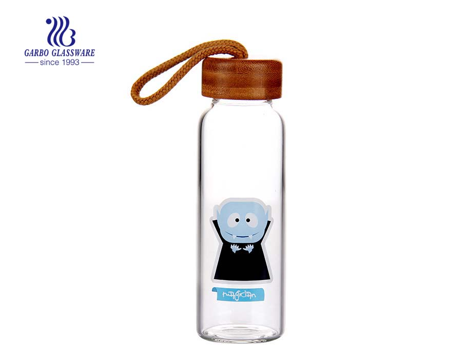 Fancy 840ml Cartoon Design Borosilicate Glass Water Bottle for sports