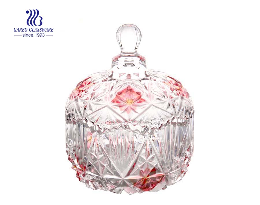 Crystal Food Storage Glass Covered Candy Dish Sugar Bowl Cookie Jar with Lid