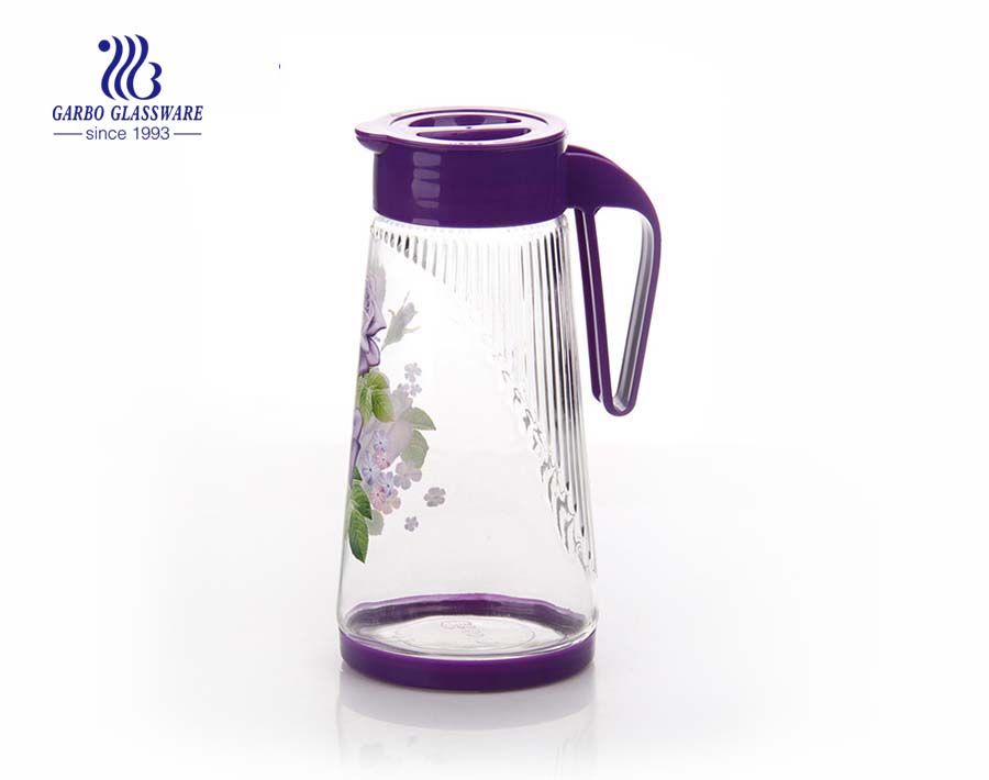 Customized colors printing 1.4L glass pitcher with handgrip