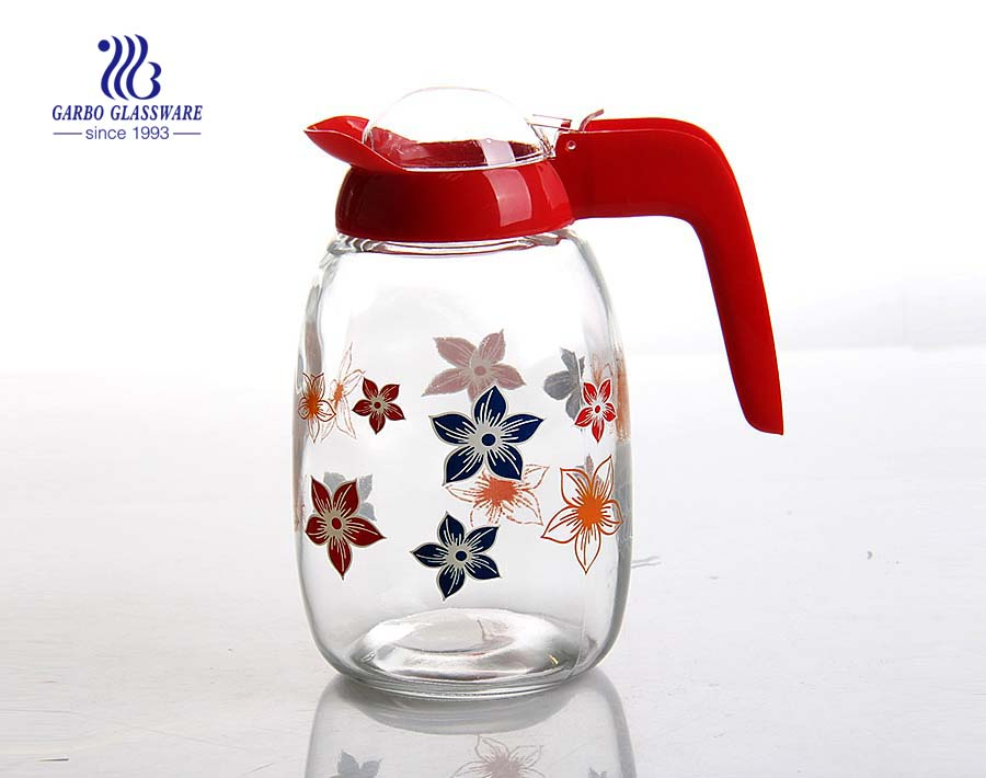 Glassware factory cheap price wholesale glass tea pot with customized color printing