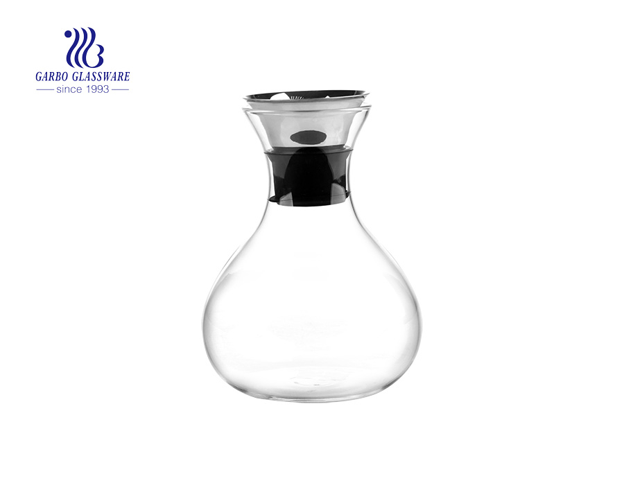 EU certificated pass stainless steel lid pyrex glass carafe