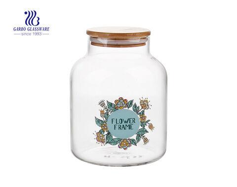 1.6 l Aufbewahrtes Glas aus Pyrexglas mit Bambusdeckel