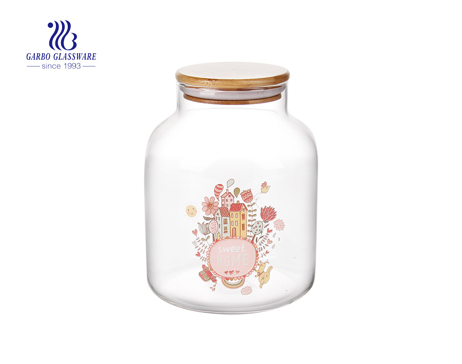 1.6L Customized decal logo pyrex glass storage jar with bamboo lid