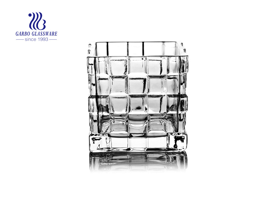 Unique Square  Shaped Glass Candle Holder With Measuring Lever line