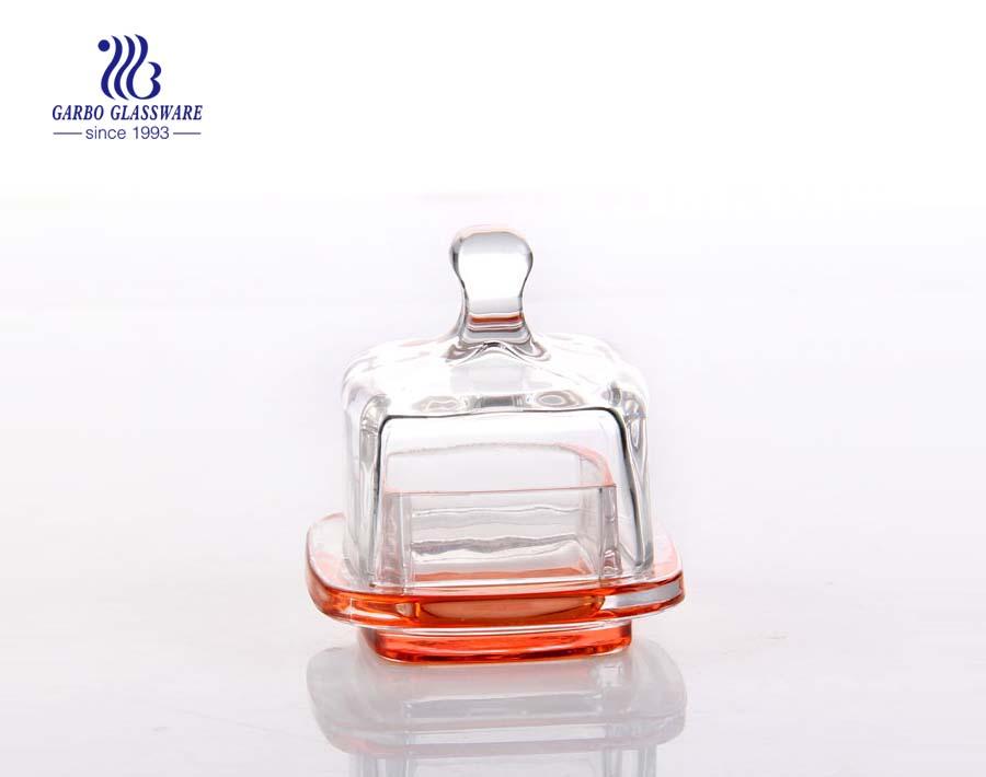 Antike quadratische Großhandel Glas Candy Dish mit dichtem Verschlussdeckel