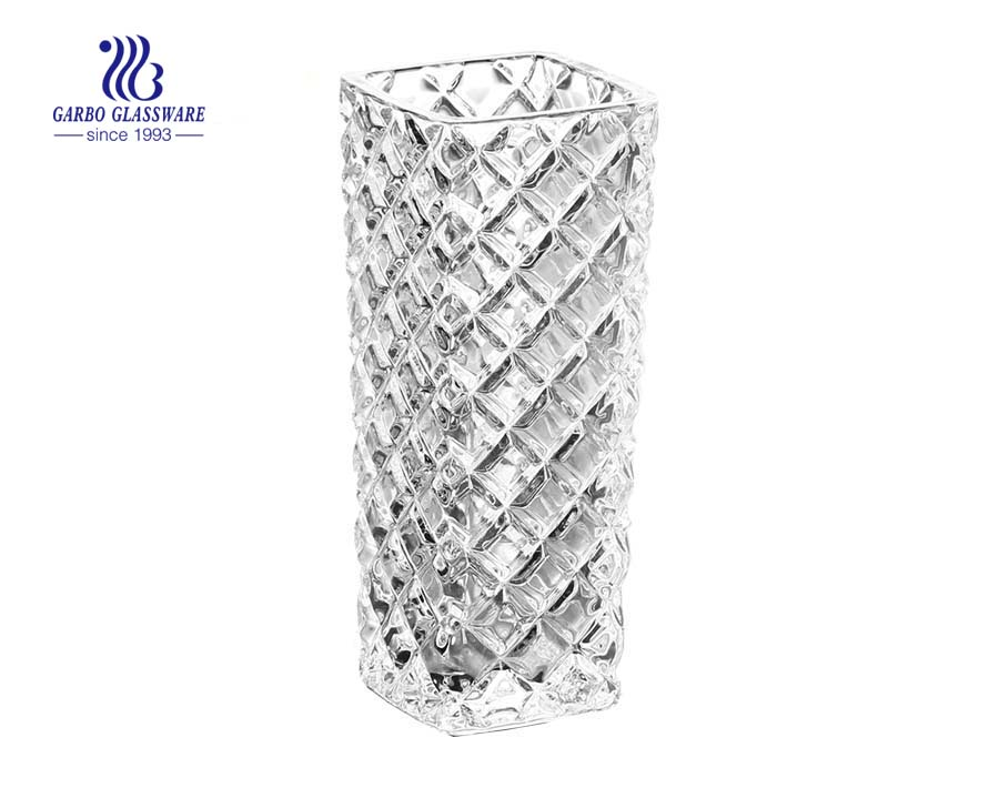Diamond Engraving Design Table Decorative Clear Glass Flower Vase