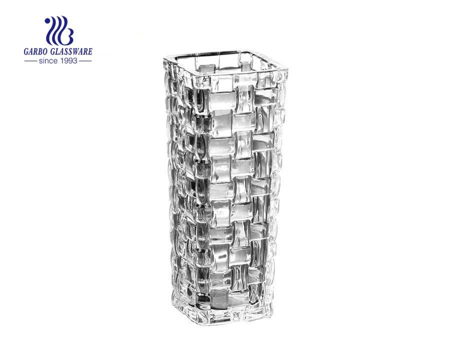 Diamond Engraving Design Table Decorative Clear Glass Flower Vase