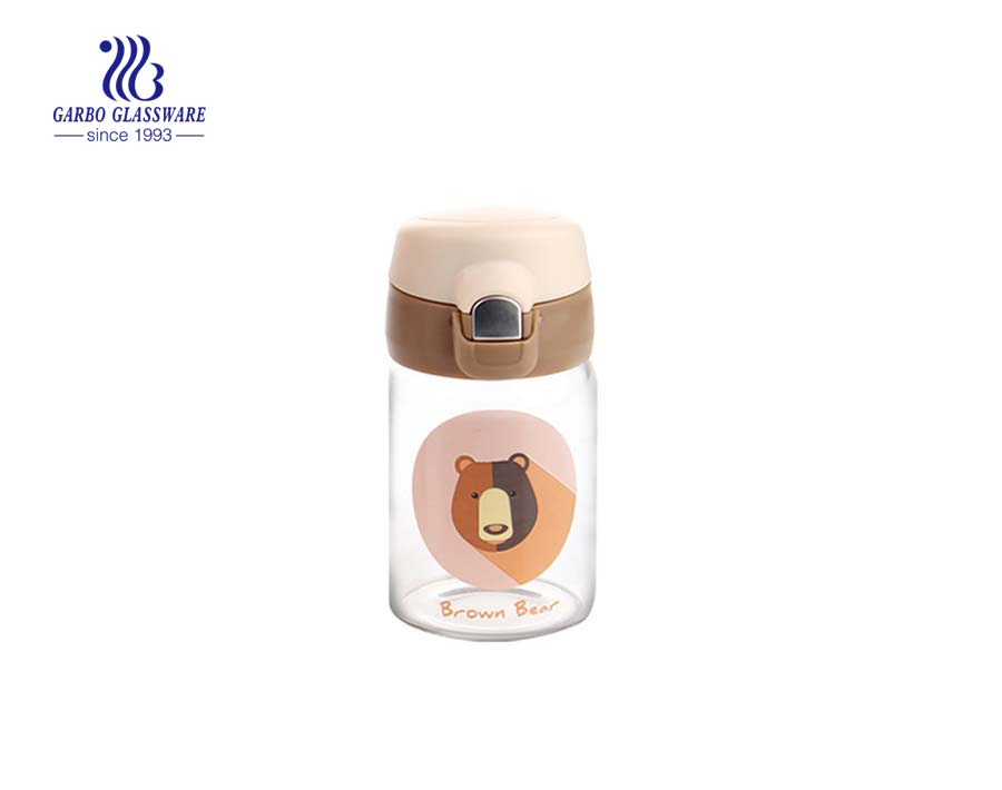 280ml hot sale small glass water bottle for hot tea drinking with metal lid and infuser