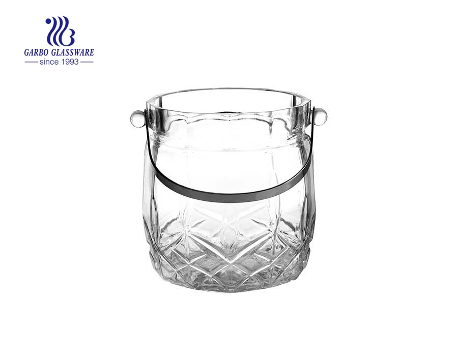 1.7L hot selling elegant engraved glass ice cooler wholesale