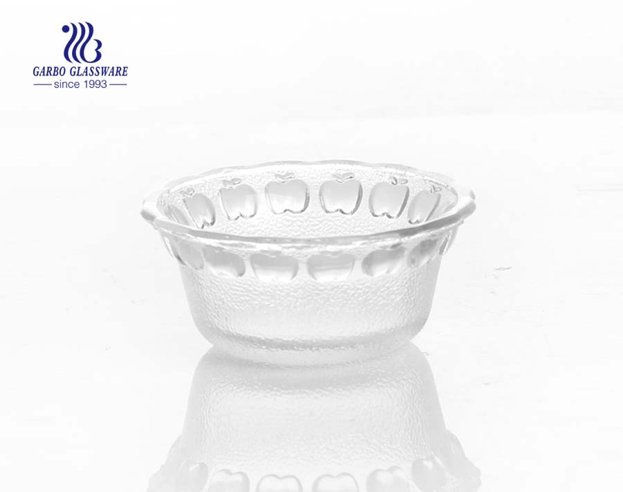 Wholesale High White Quality 7 inch Engraved Glass Salad Fruit Bowl