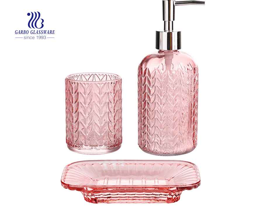hotel use colored pink 3pcs glass bathroom washing accrssories set engraved glassware set