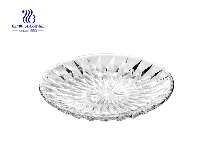 Home decoration big diamond patterned transparent glass fruit plate