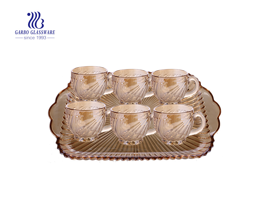 Champagne color decorative 7pcs glass serving plate and glass tea mug set