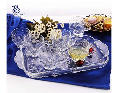 Champagne color decorative 7pcs glass serving plate and glass tea mug set
