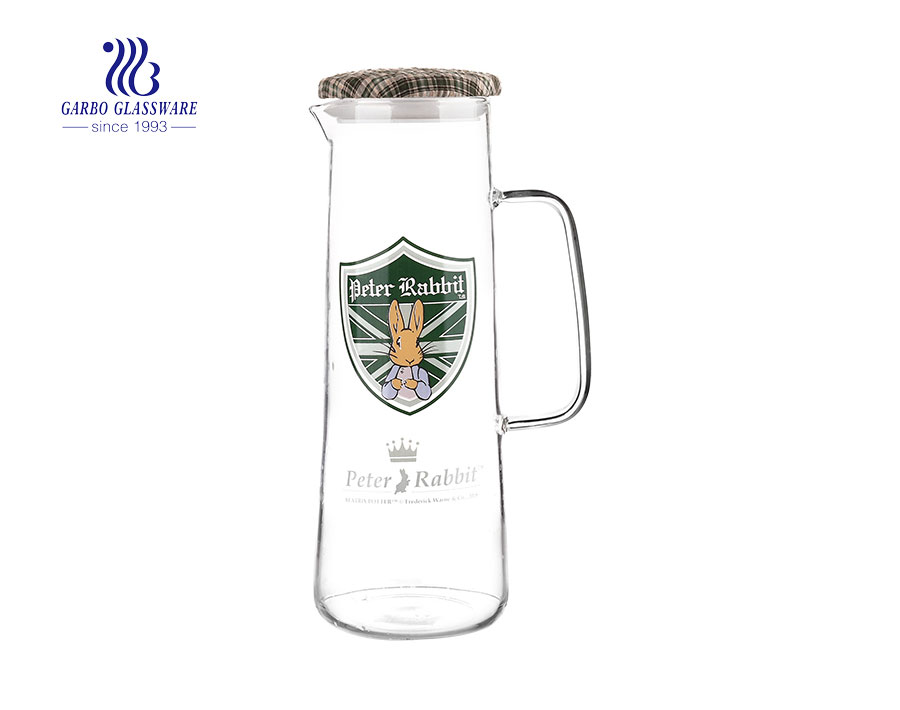 Luxury pyrex glass thin wall heat resistant glass jug with customized printing decal design