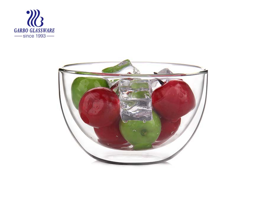 LFGB Test PASS heat resistant double wall glass bowl