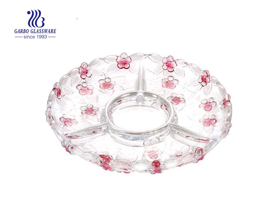 12.5'' Decorated Glass Divided Dish