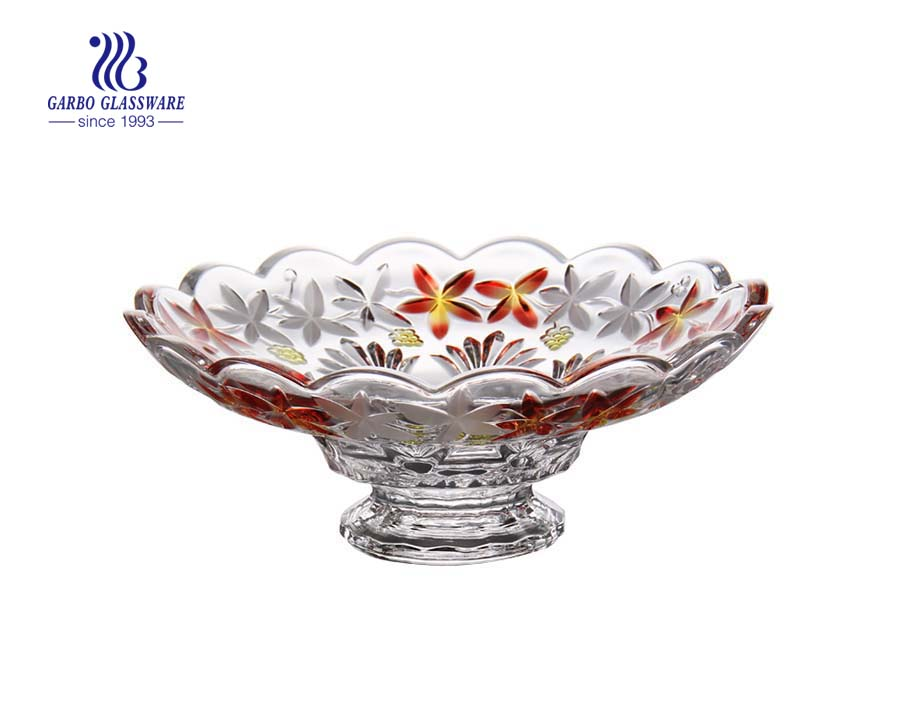 Environment-friendly 12.01'' Glass Colored Bowl for Fruit Serving