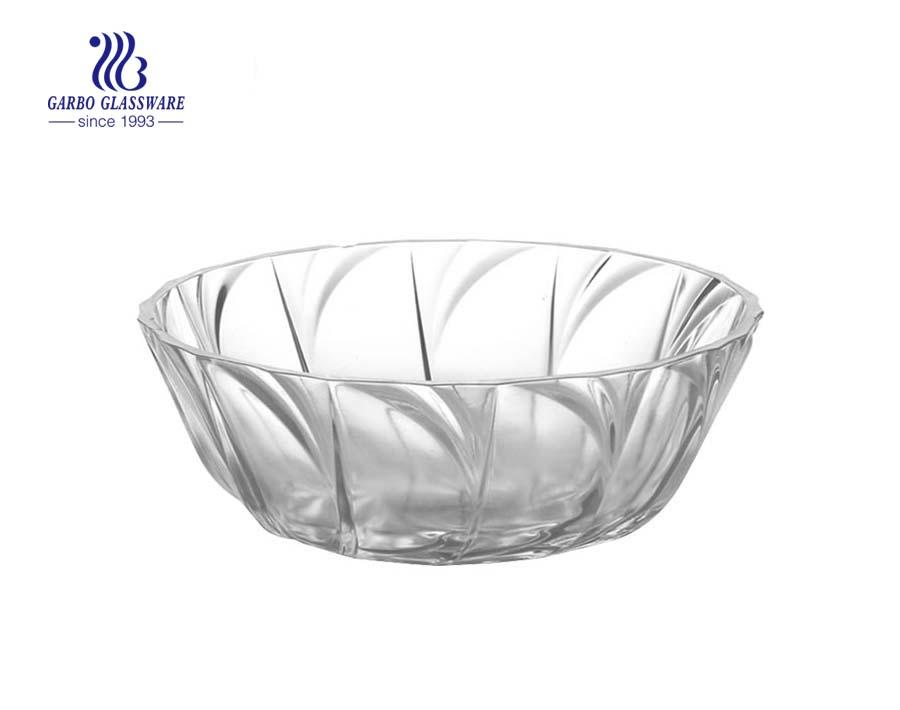 Chinesischer Hersteller Direct Water Ripple Design 1800ml Glassalat Fruit Bolw