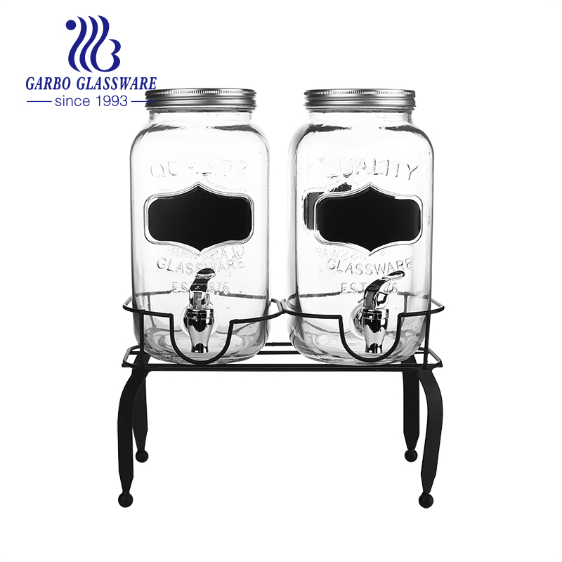 Double Chalkboard Beverage Dispensers with Metal Stand for Iced Cold Punch Drinks