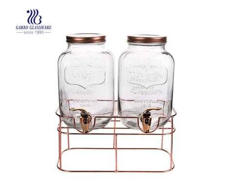 Dispensador de bebidas de vidrio transparente doble de 1 galón con soporte dorado