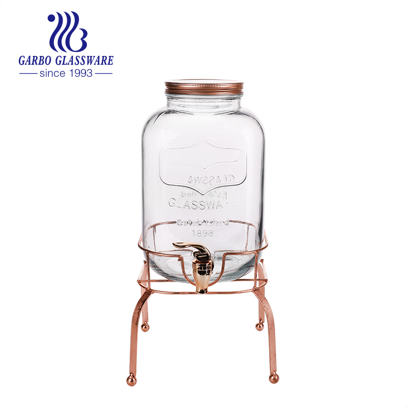 1 Gallon double Clear Glass Beverage Drink Dispenser with  golden Stand