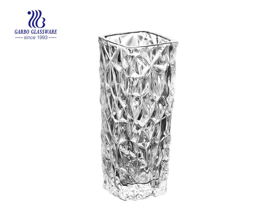 Simple Engraved Flower Design Clear Glass Vase