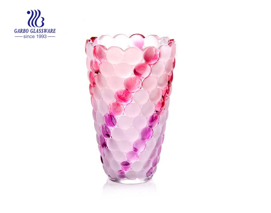 Frosted Spray Color Big Home Decorative Glass Flower Vase