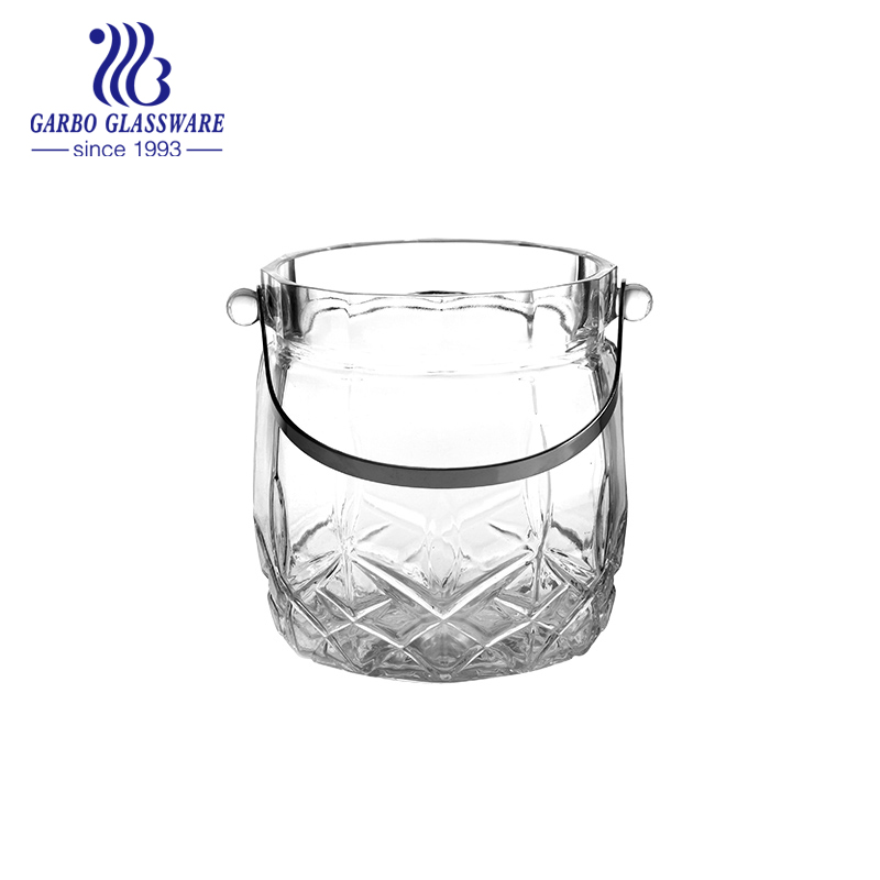 Easy taking glass ice bucket with stainless steel handle