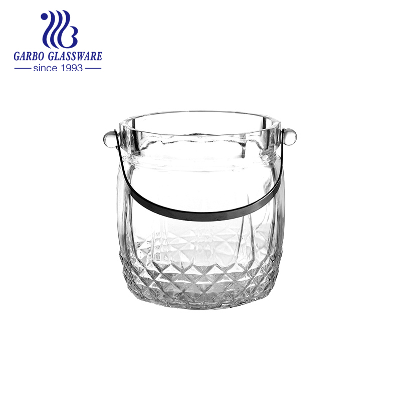 900ml glass ice bucket with S/S tong wholesale