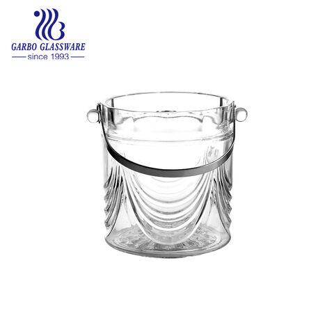 Cubo de hielo de vidrio de fácil extracción con mango de acero inoxidable