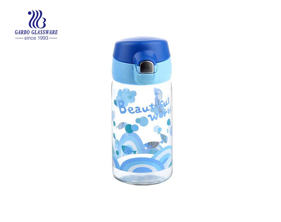 Hot-selling 300ml Printing Design Glass Water Bottle With Color Lid