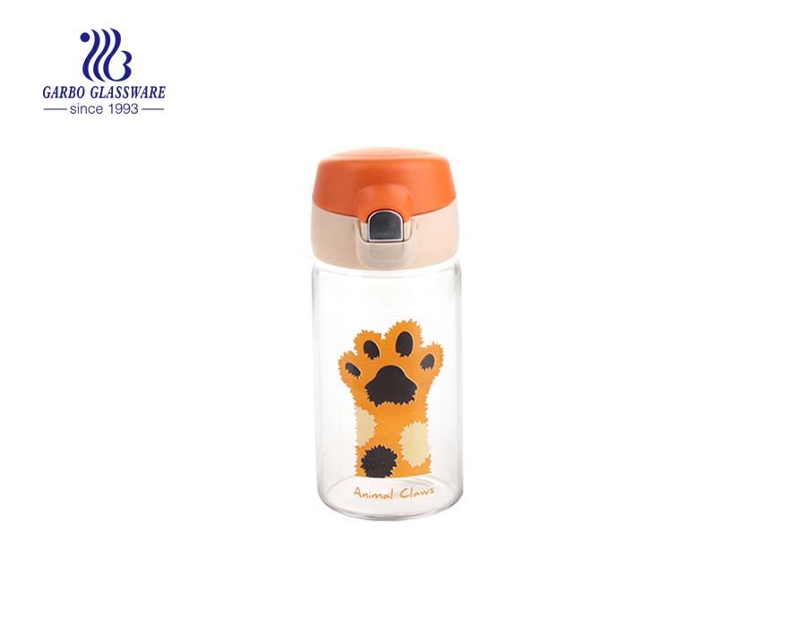 Heißverkaufte 300ml Druckdesign Glaswasserflasche mit Farbdeckel