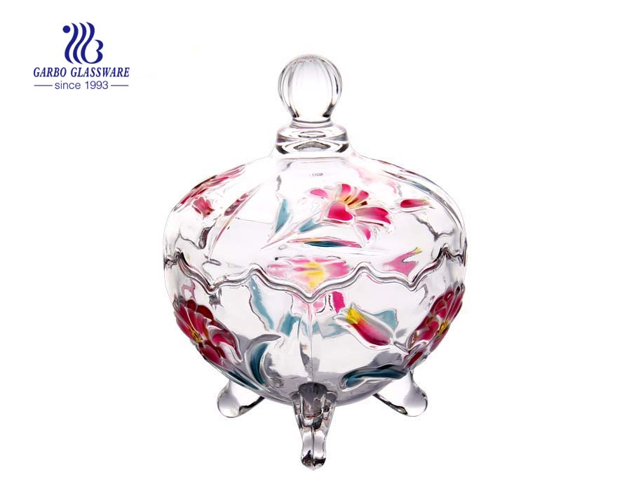 China Supplier Crystal Candy Sugar Cookie Jar with Lid For Food Storage