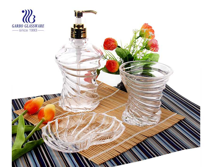 Wholesale home use high quality clear 3pcs glass bathroom accessory set