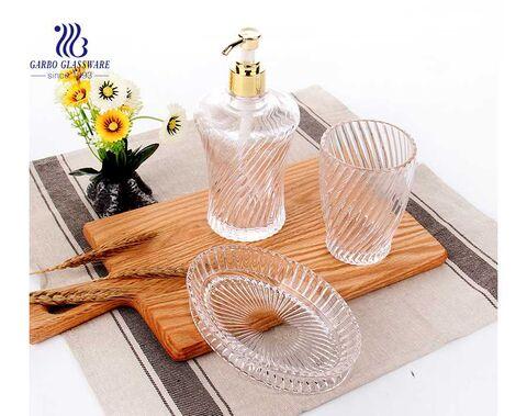 Wholesale home use high quality clear 3pcs glass bathroom accessory set