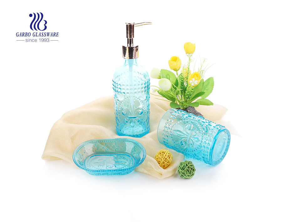 China cheap price colorful lotion dispenser and glass pump bathroom set