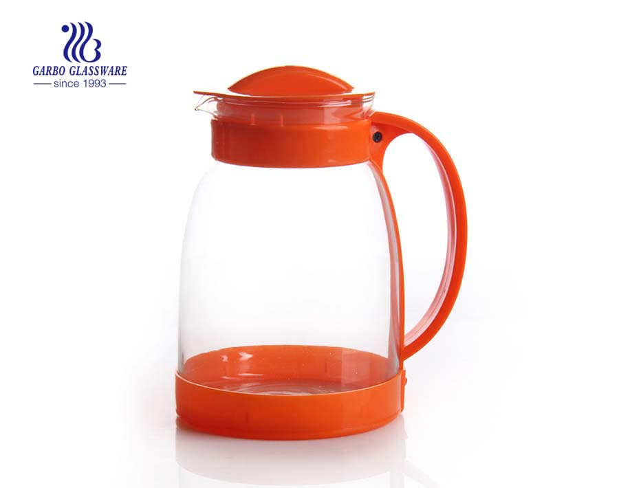 Machine blown glass pitcher glass drinking pot with plastic lid