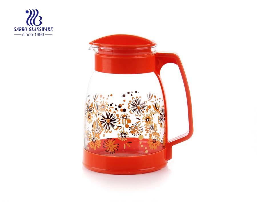 Machine blown glass pitcher glass drinking pot with plastic lid
