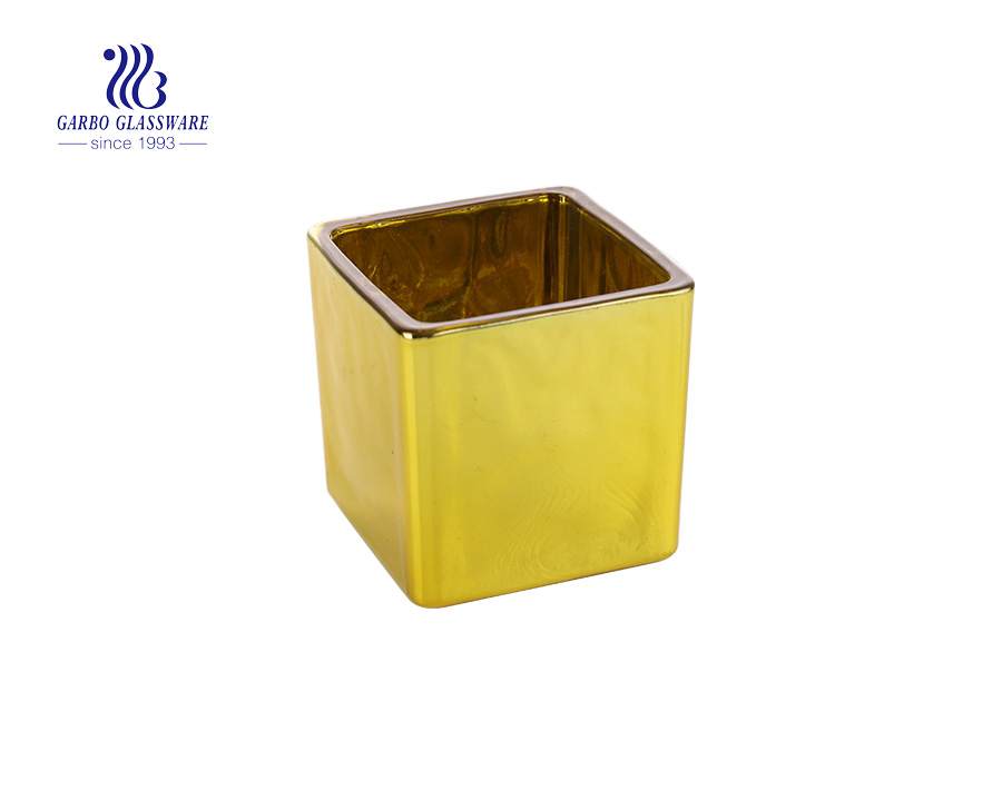 Yellow  Square Shaped  Glass  Candle Holder