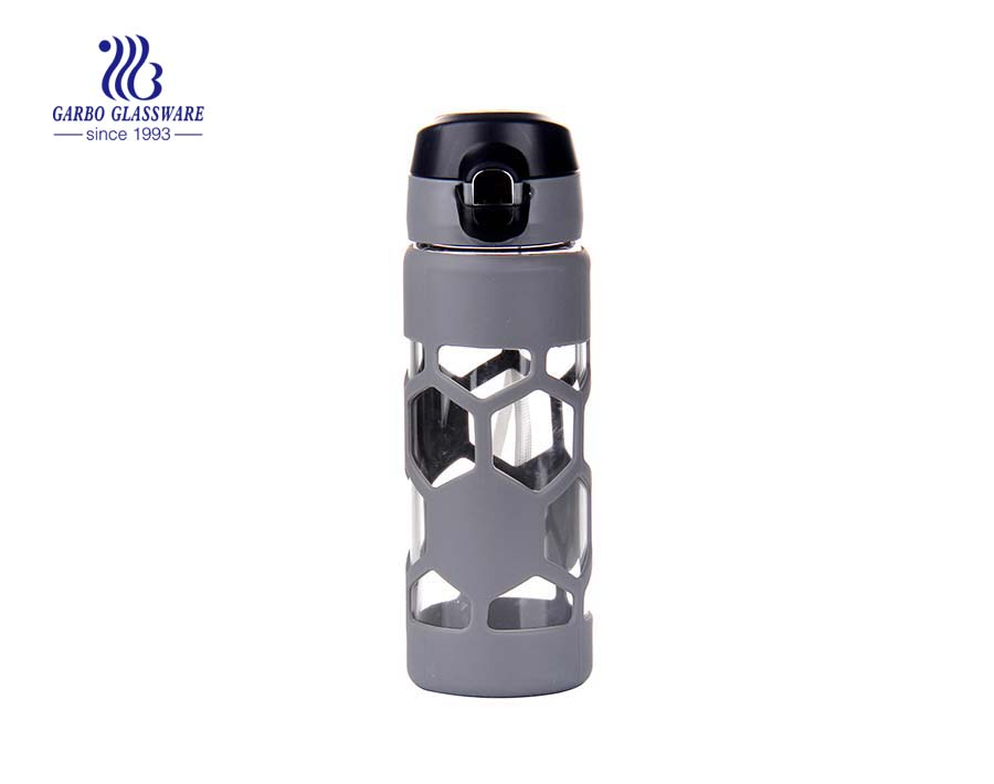 Chai thủy tinh borosilicate 450ml cổ điển có nắp cách nhiệt